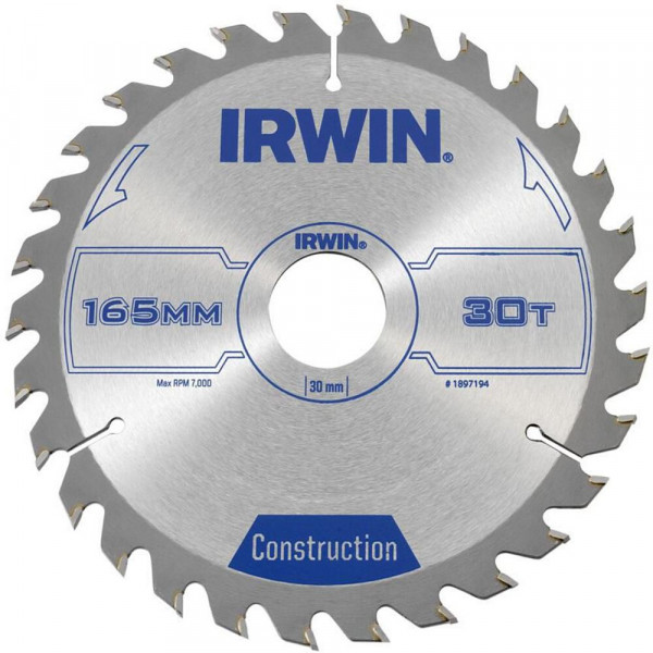 Диск пильный по деревоматериалам IR CSB 165x30Tx30, IRWIN - Инсел