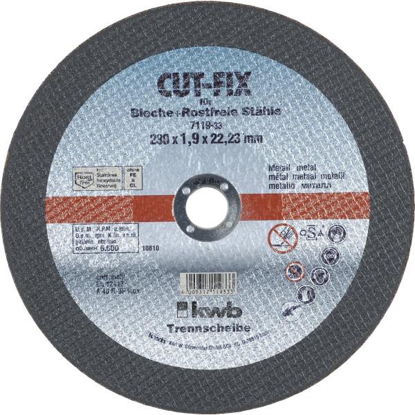 Диск отрезной по металлу 230х1,9х22, KWB — Инсел
