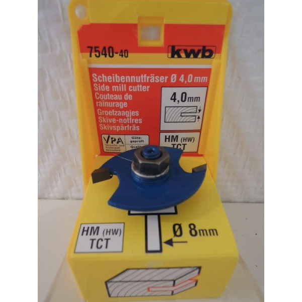 Фреза пазовая дисковая НМ 4мм, KWB, 7540-40 - Инсел
